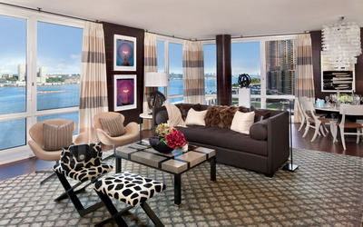 Modern living room design wallpaper