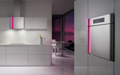 Modern white kitchen by the sunset wallpaper