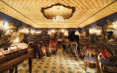 Music instruments storage wallpaper