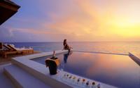 Ocean sunset over the pool wallpaper 2560x1600 jpg