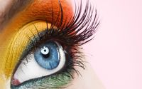 Orange and yellow makeup on the blue eyes wallpaper 1920x1200 jpg