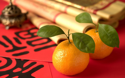 Oranges with leaves Wallpaper