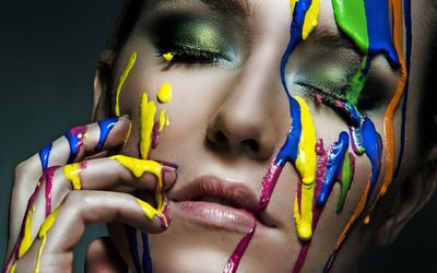 Paint dripping on face wallpaper