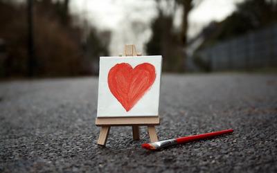 Painted heart wallpaper