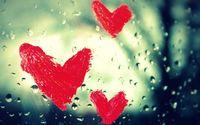 Painted hearts on the wet window wallpaper 3840x2160 jpg