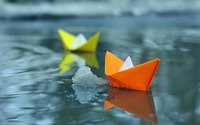 Paper boats on icey lake wallpaper 1920x1200 jpg