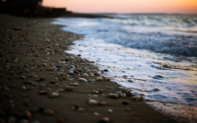 Pebbles on a sandy beach at sunset wallpaper