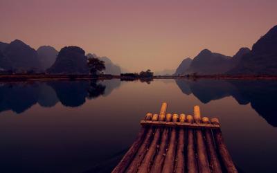 Raft on lake wallpaper
