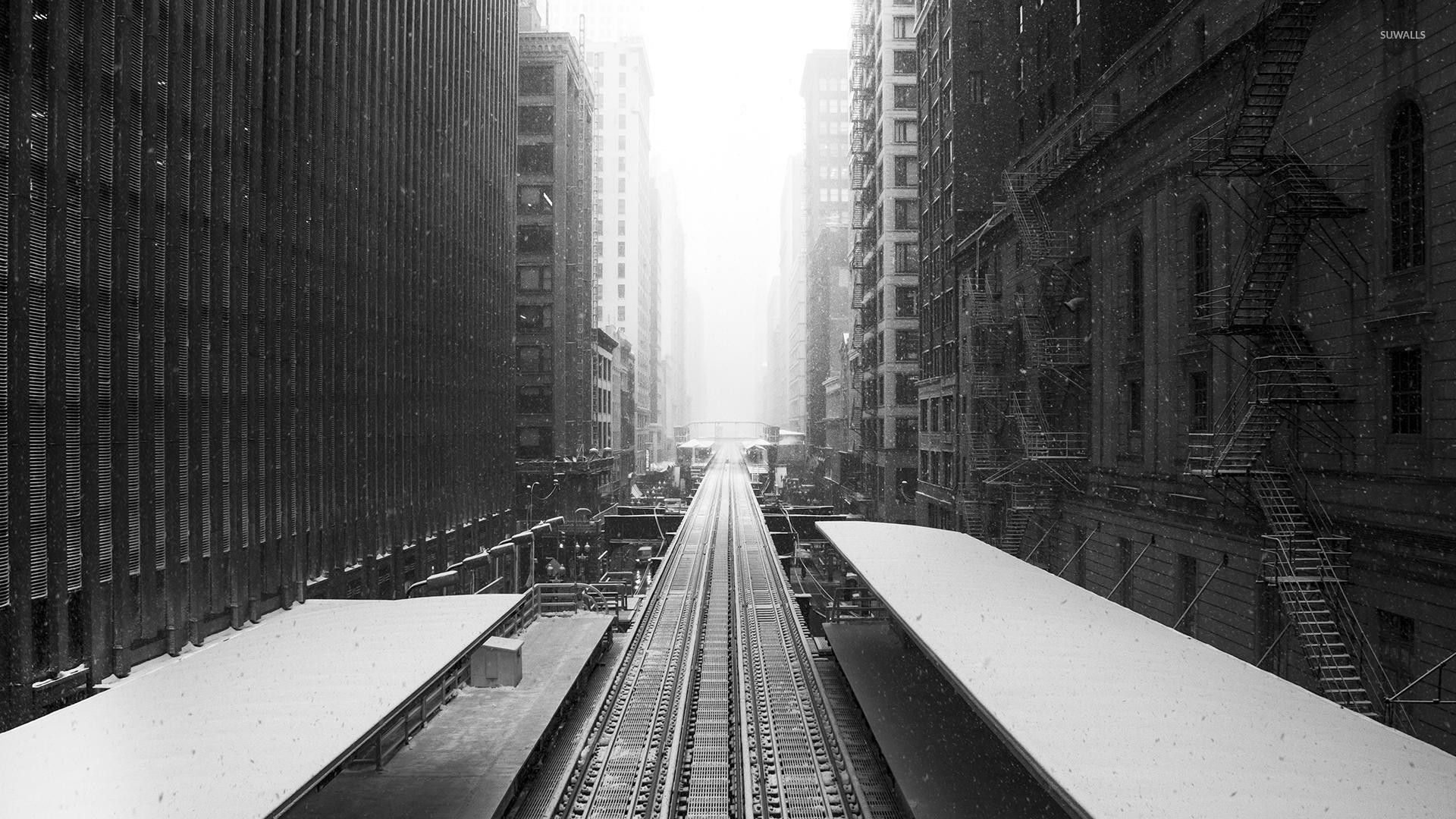 railroad in the snowy city wallpaper photography