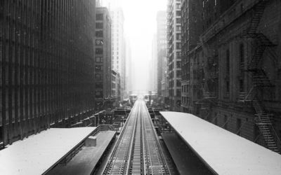 Railroad in the snowy city wallpaper
