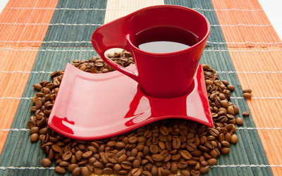 Red coffee cup wallpaper