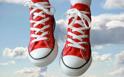 Red sneakers in the sky wallpaper