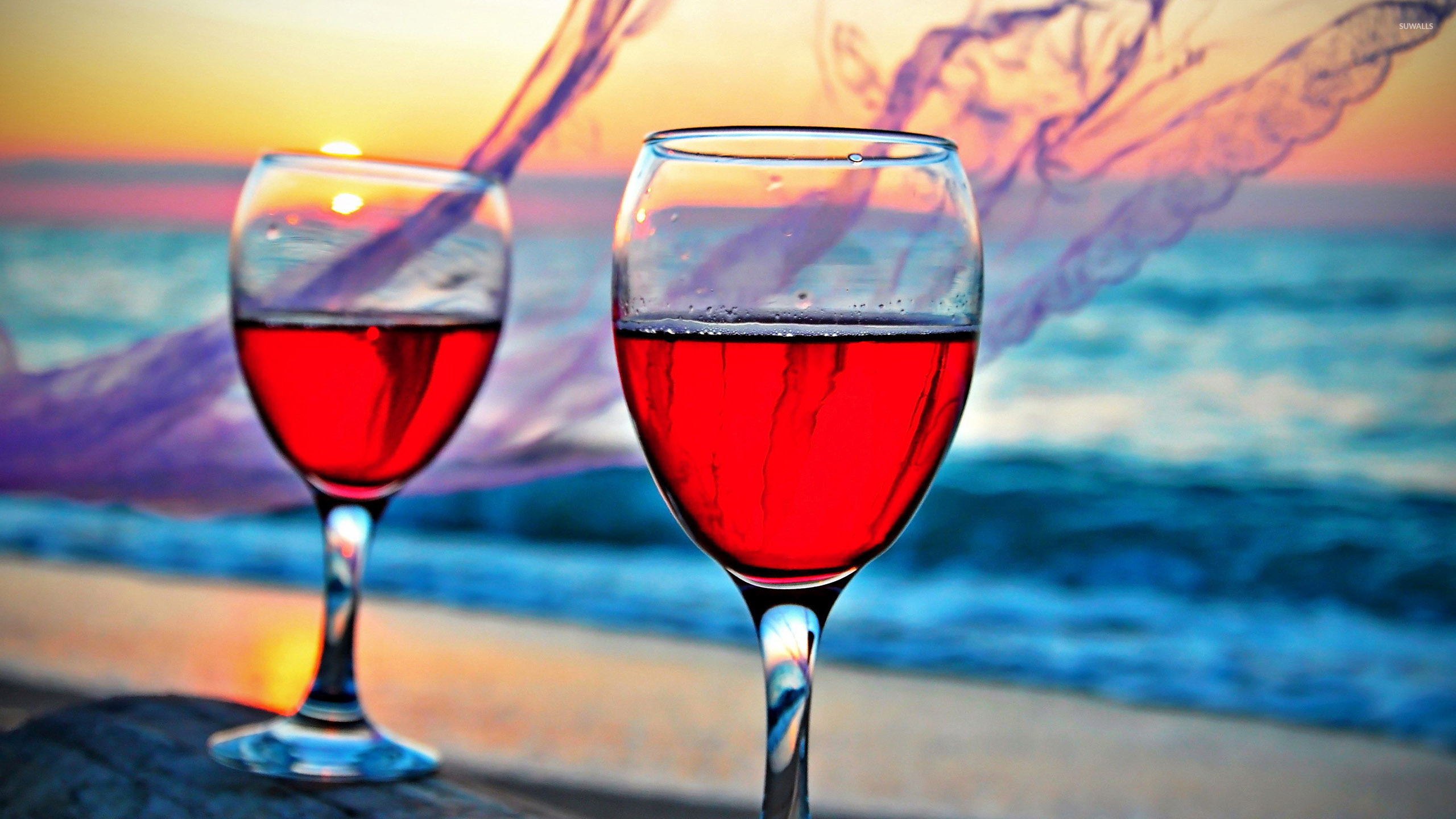rose wine in the glasses wallpaper photography