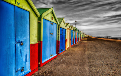 Row of colorful beach houses wallpaper