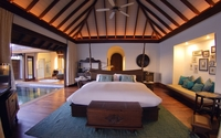 Rustic bedroom connected to the swimming pool wallpaper 2560x1600 jpg