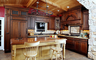 Rustic kitchen wallpaper