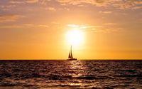 Sailing ship enjoying the ocean sunset wallpaper 1920x1200 jpg