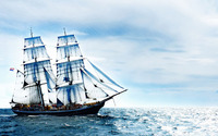 Sailing ship on the sea wallpaper 1920x1080 jpg