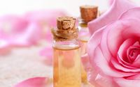 Scented oils and a pink rose wallpaper 1920x1080 jpg