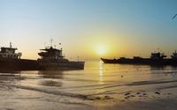 Shipwrecks at sunset wallpaper 2560x1440 jpg