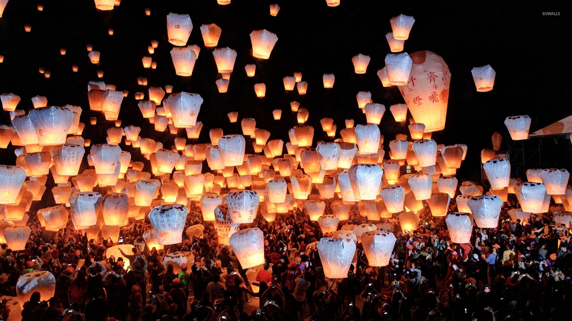 Sky lanterns wallpaper - Photography