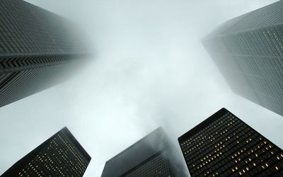 Skyscrapers in the fog wallpaper