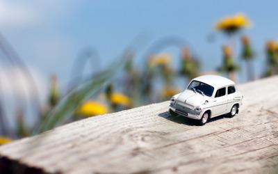 Small car on a log wallpaper