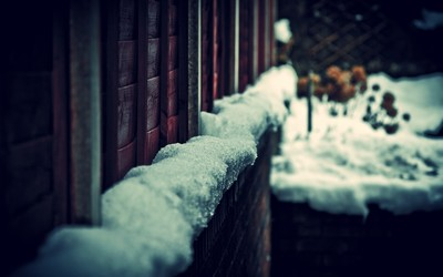 Snow on house wall wallpaper