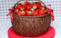 Strawberries in a chocolate basket wallpaper 1920x1200 jpg