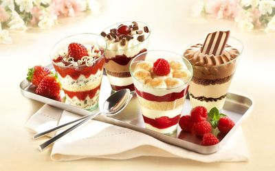 Strawberry and chocolate dessert Wallpaper