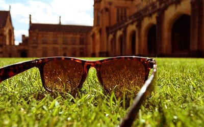 Sunglasses in the grass wallpaper