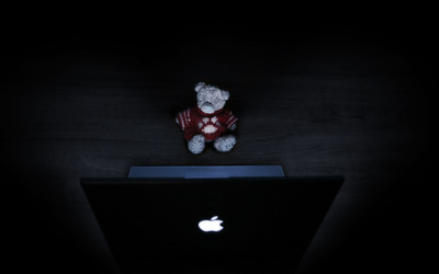 Teddy bear at the Macbook wallpaper