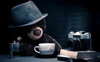 Teddy on a coffee break wallpaper 1920x1200 jpg