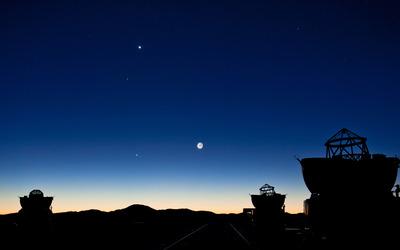 Telescopes at dusk wallpaper