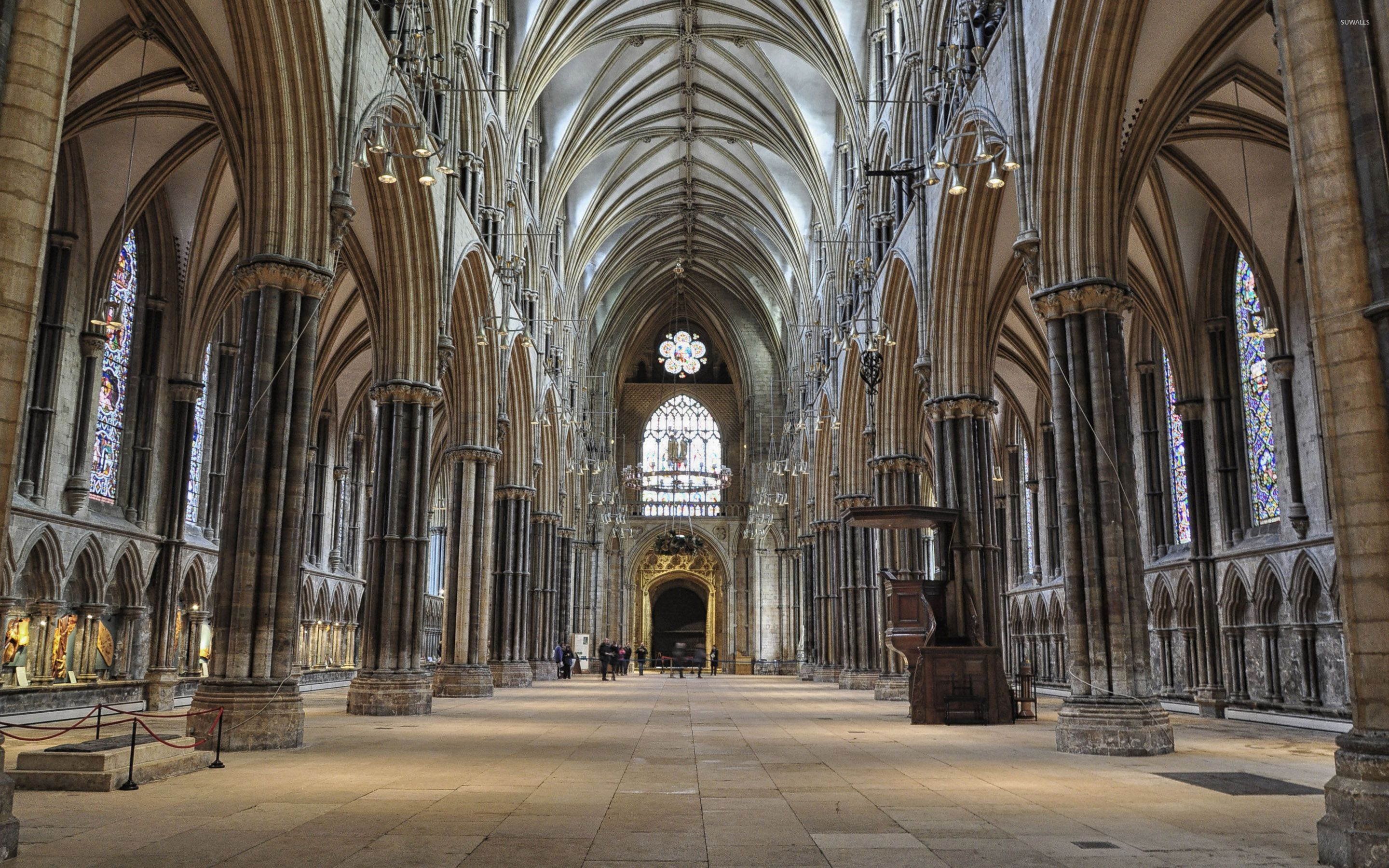 The Nave Of The Lincoln Cathedral England Wallpaper