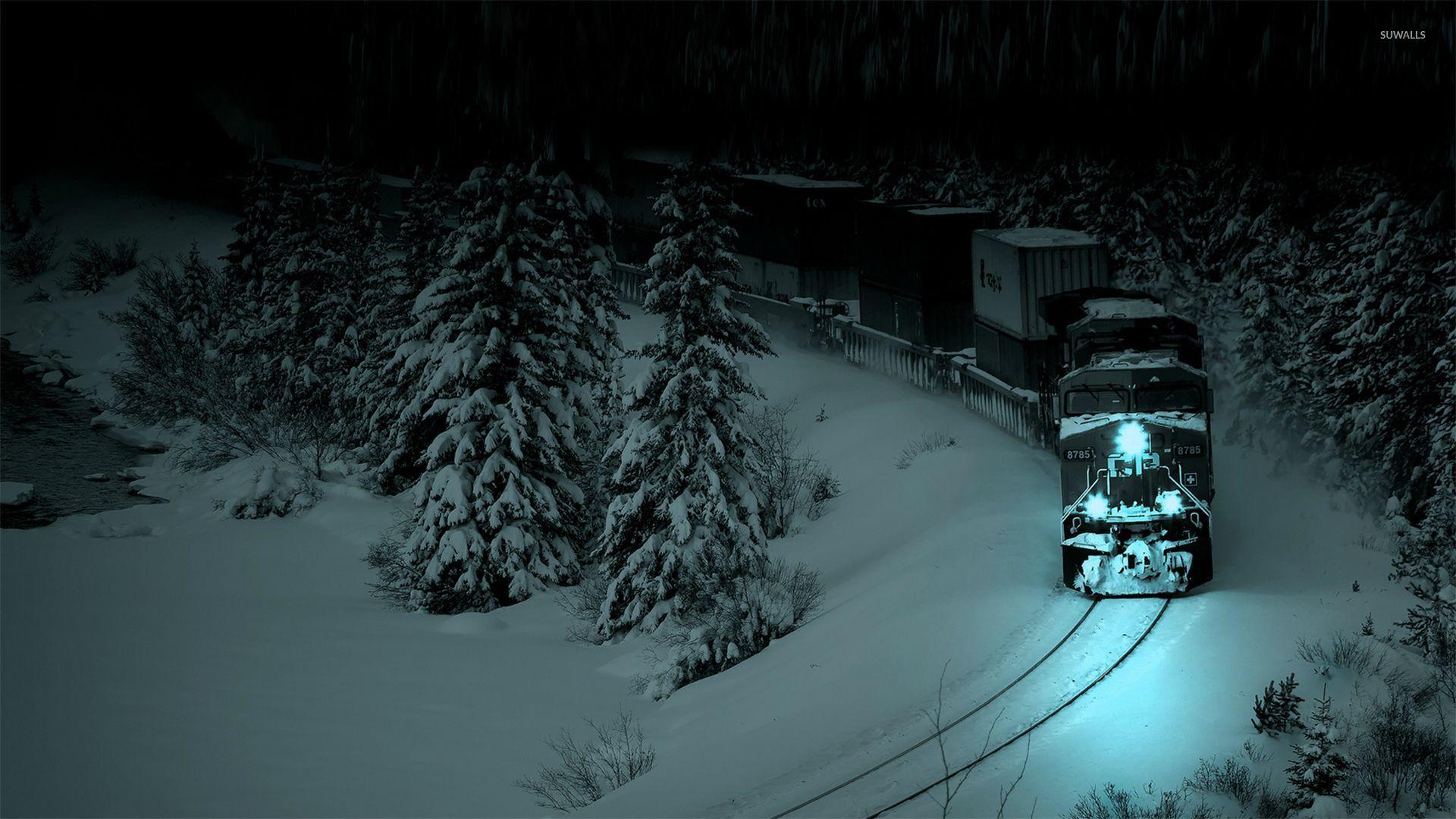 Train In The Winter Night Wallpaper