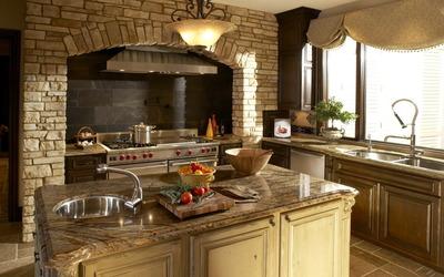 Tuscan kitchen design wallpaper