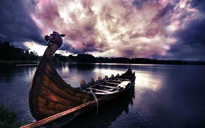 Viking boat wallpaper