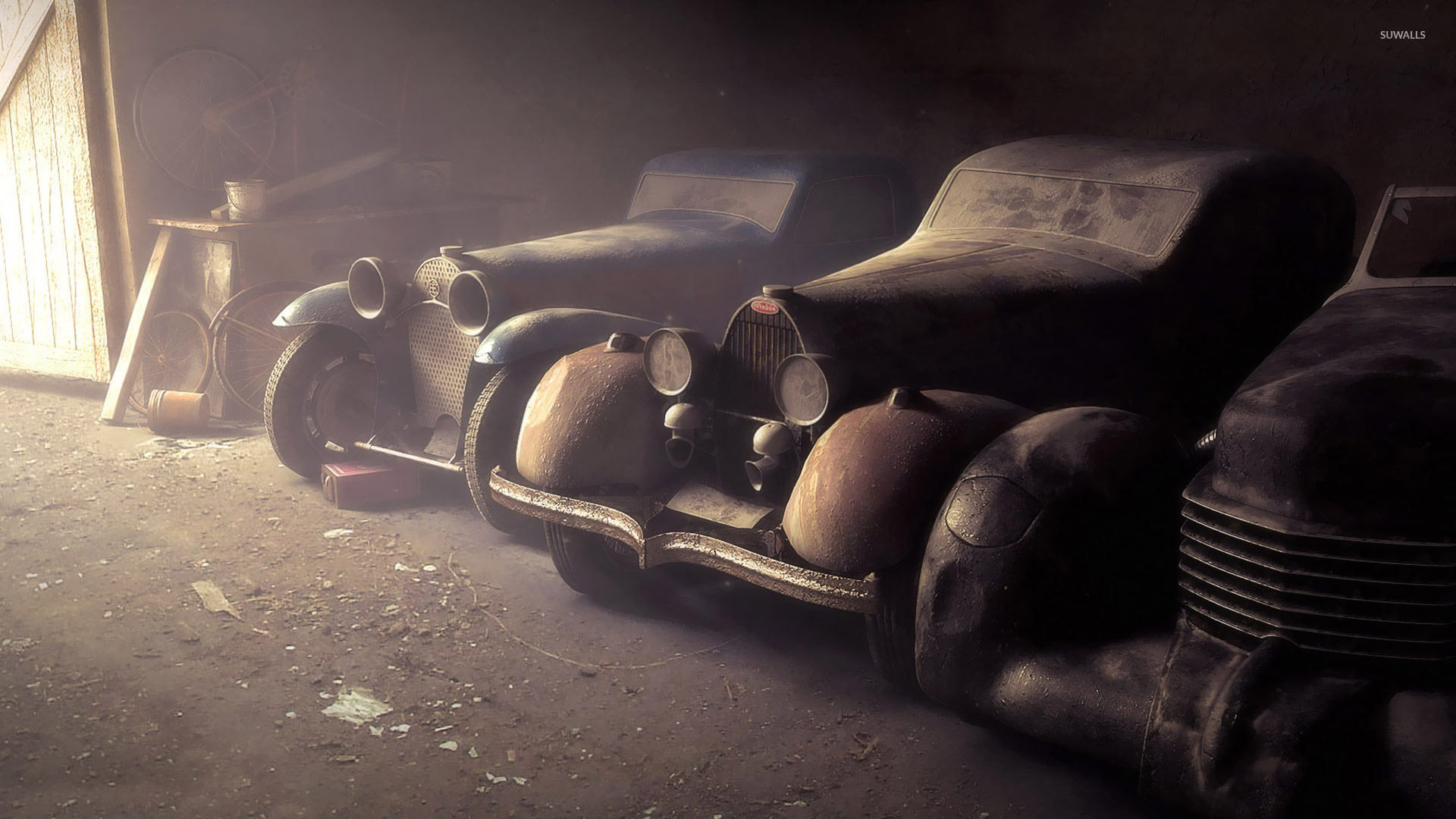 Vintage cars in the garage wallpaper
