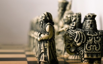 Vintage chess pieces wallpaper