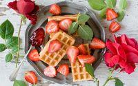 Waffles and strwaberries wallpaper 3840x2160 jpg