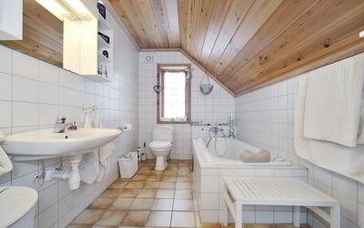 White attic bathroom design wallpaper