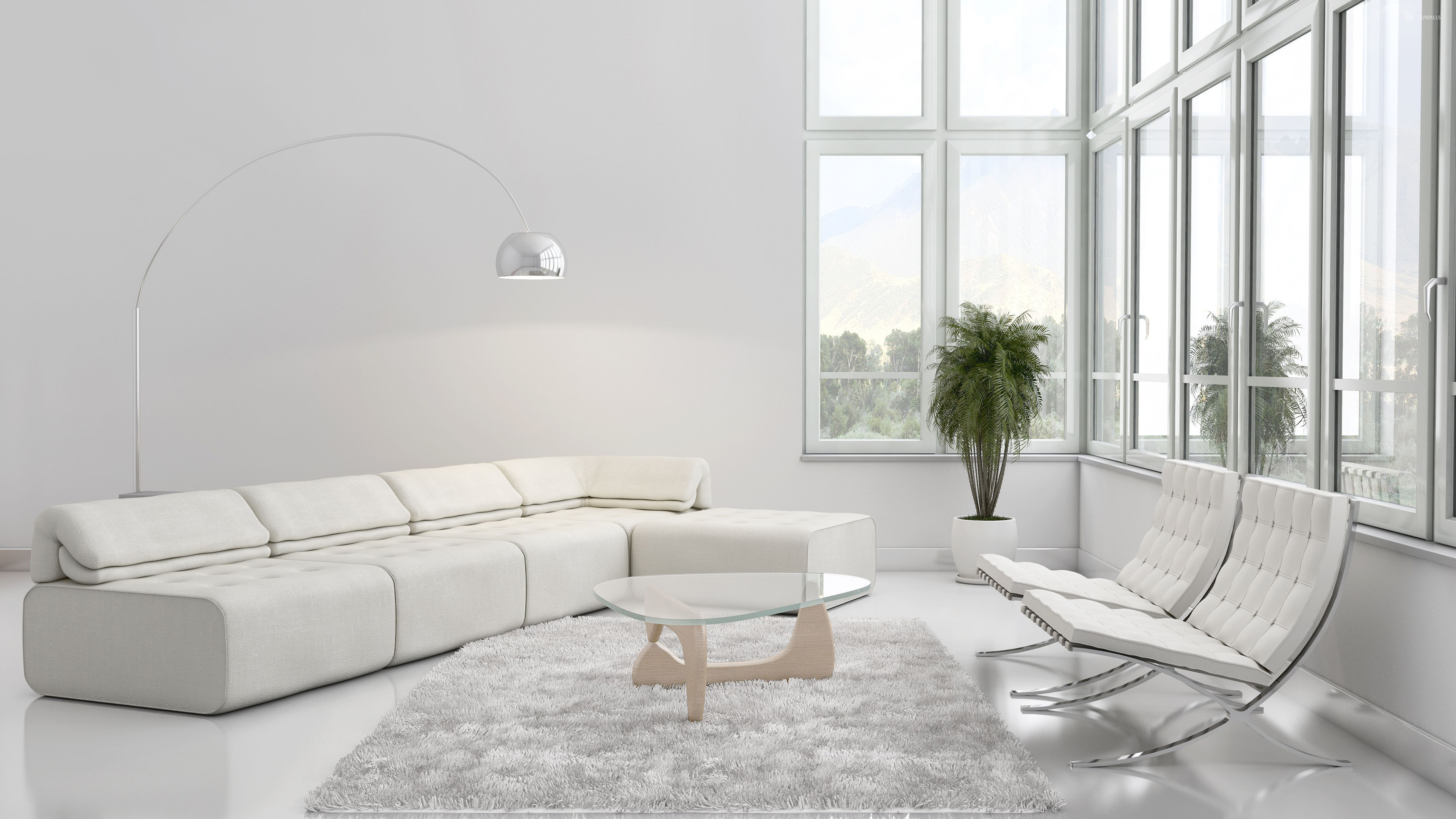 White Living Room Wallpaper