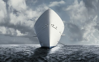 White ship wallpaper
