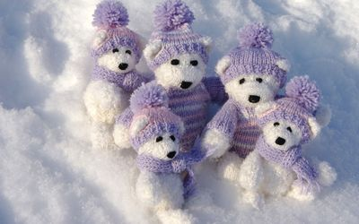 White teddy bears with purple clothes on the snow Wallpaper