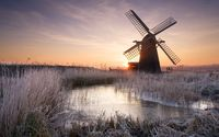 Windmill on a frosty morning wallpaper 1920x1080 jpg