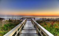 Wooden pier to the sandy beach wallpaper 1920x1200 jpg