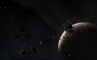 Asteroid near the planet wallpaper