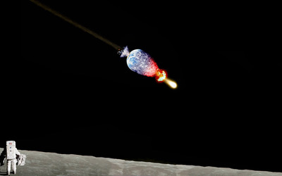 Astronaut watching Earth exploding from the Moon wallpaper