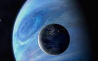 Big blue satellite of a smaller planet wallpaper 1920x1080 jpg